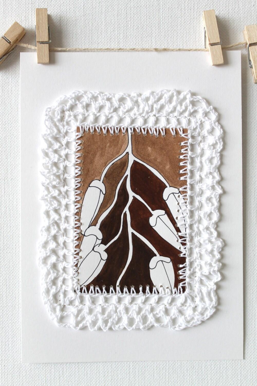 Оригинальное искусство Работа Акварель Home Decor вязания Коллаж Fibre искусства Уникальные