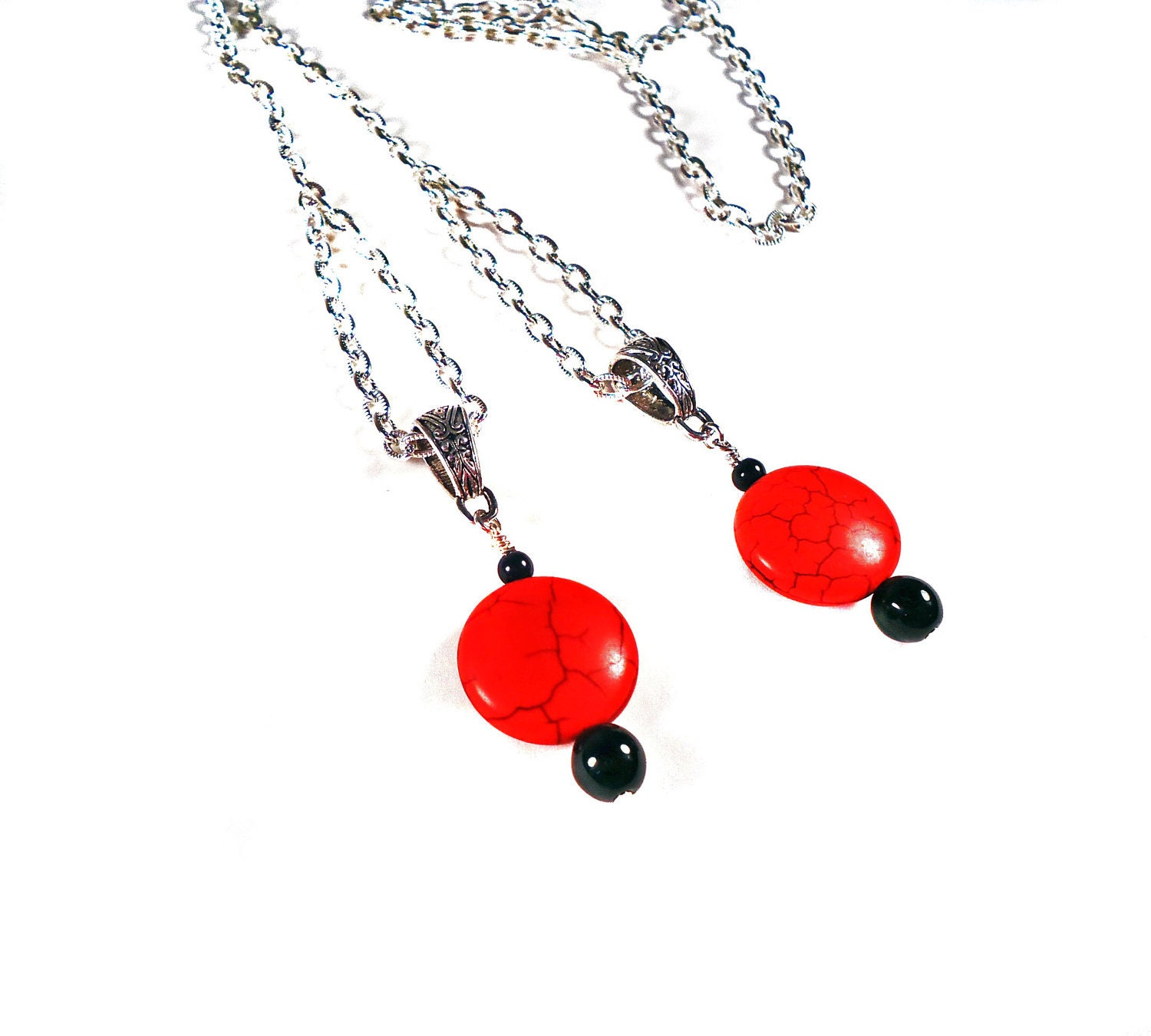 Long Cable Chain Red Coin Lariat - TinksTreasure