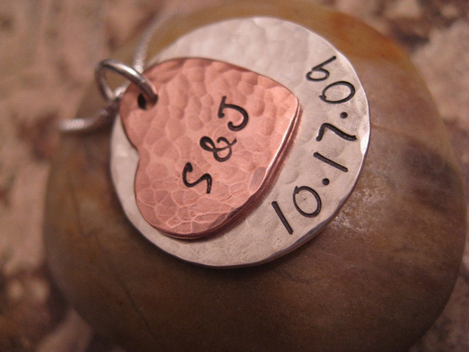 Personalized Hand Stamped Necklace Copper  Love Mixed Metal Collection