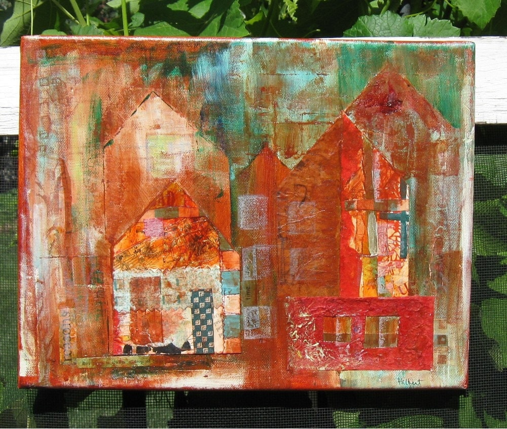Cityscape Mixed Media Collage - JaneHilbertDesigns