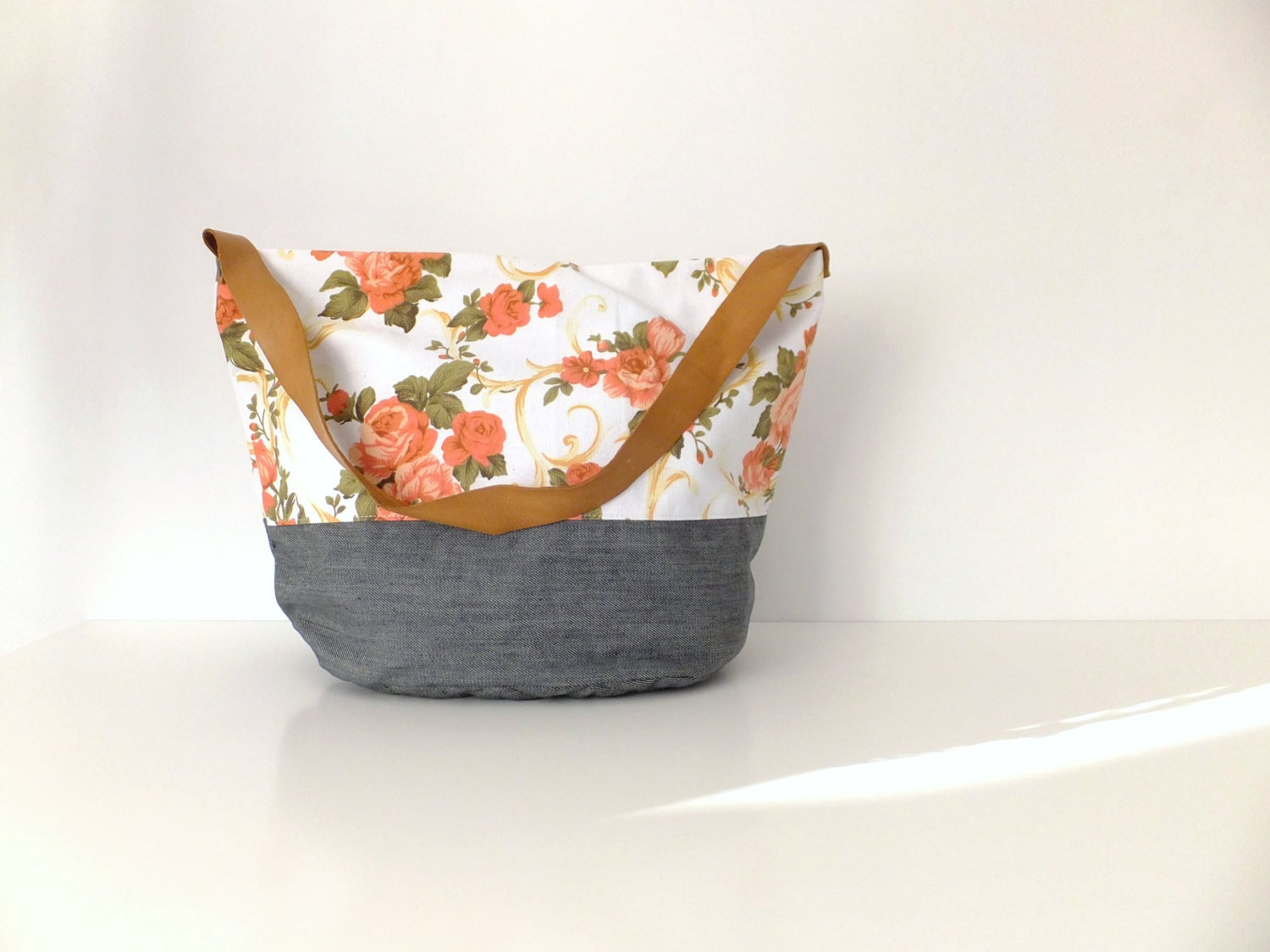 Flower summer bag / Diapers bag / Floral canvas tote / Modern fashion mom bag / Women tote summer bag / Canvas bag tote - LiduvinaDesign