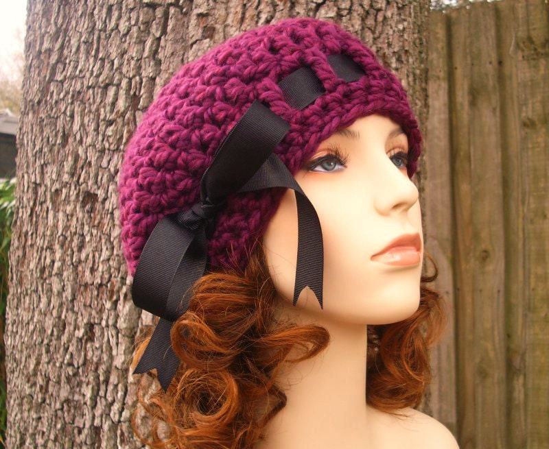 10% Off - Hand Crocheted Hat Womens Hat - The Escargot Beret in Red Violet - Back To School Fall Fashion Autumn Fashion