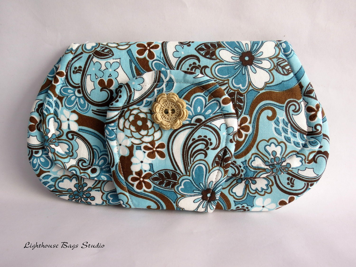 Pocket Clutch / the larger version in Floral Blue & Brown Fabric - Lighthousebags