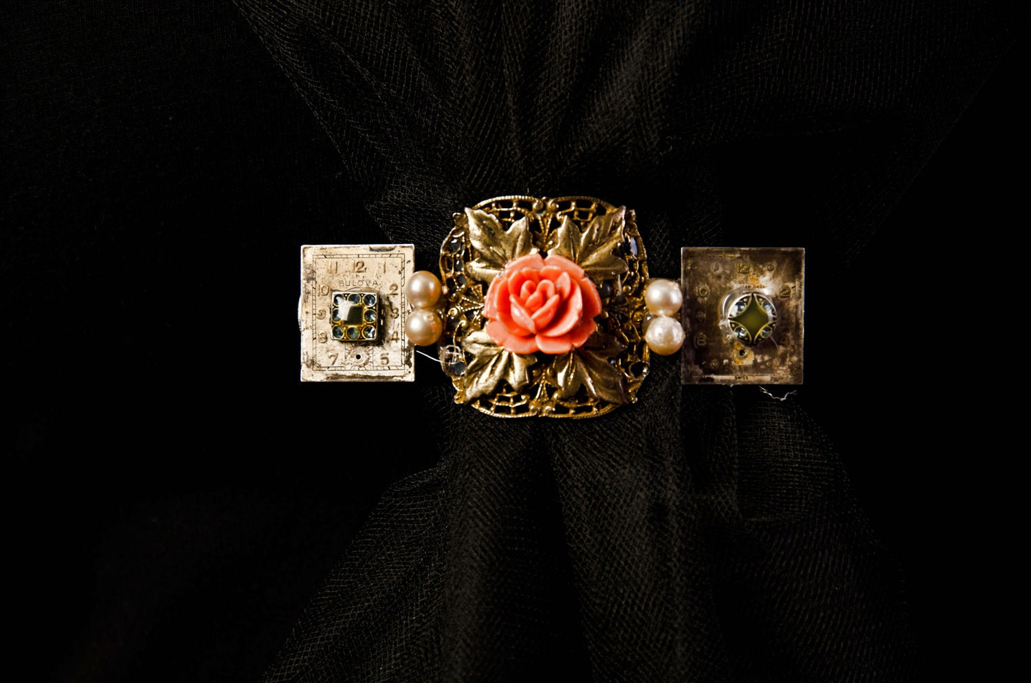 pearl, coral rose, cabochon, and watch dial Victorian inspired barrette