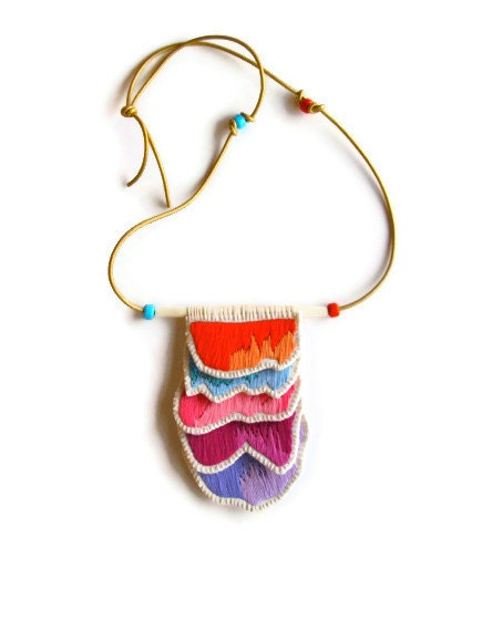 Embroidered pendant necklace on long gold leather cord with glass bead accents Spring colors - AnAstridEndeavor