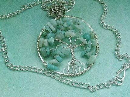 Wire wrapped Tree of life pendant in sterling silver