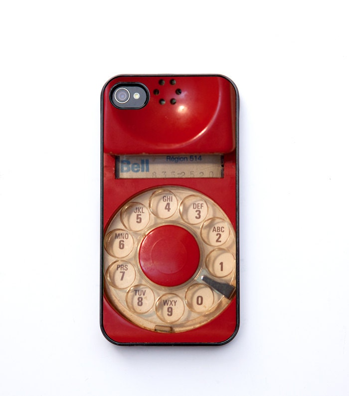 Christmas, iPhone 4 Case, ruby red, vintage phone, dial phone, retro decor, iPhone 4s, iPhone 4, iPhone accessory,  bomobob - bomobob