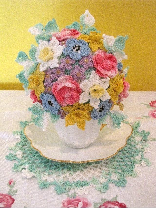 Springtime Tea Cup Bouquet Crochet PDF Pattern