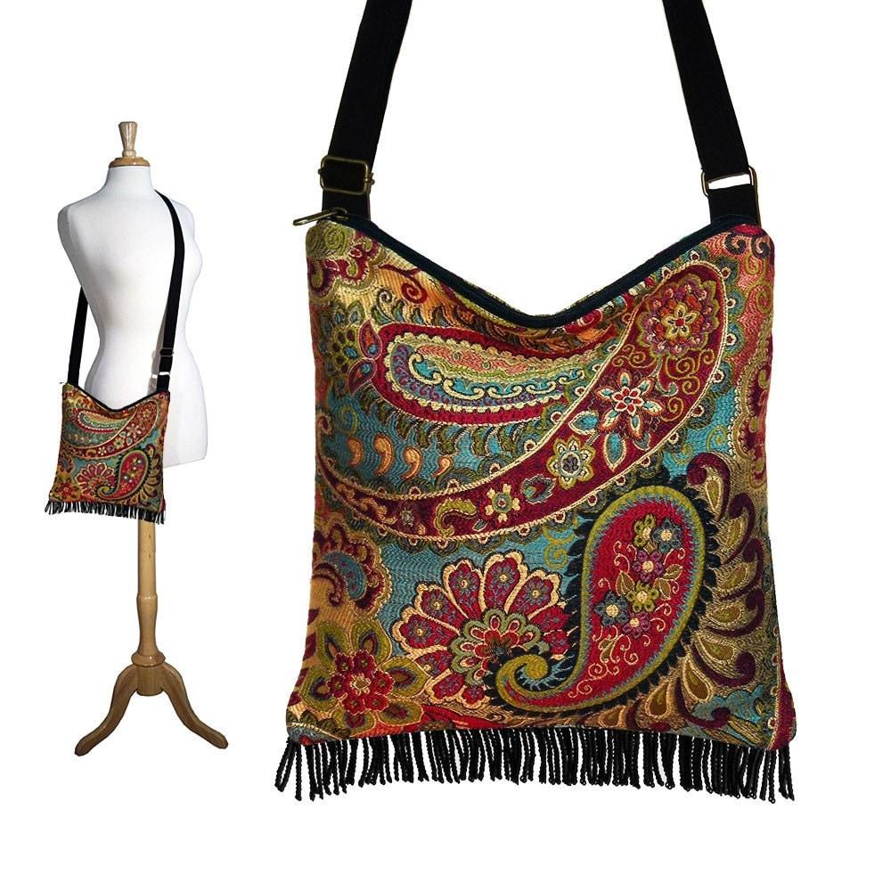 Bohemian Purse Gypsy Fringe Bag Slouch Hobo Bag Hippie Purse Shoulder Bag Zipper - Nadya Paisley Tapestry - In Stock - janinekingdesigns