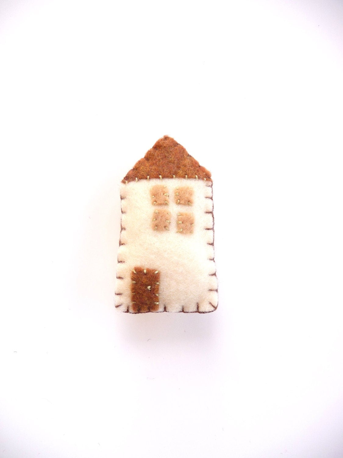 Home sweet home cream cottage house magnet with tan roof, style number four - WillowandQuail