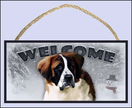 "Saint Bernard Winter Season 10"" x 5"" Wooden Welcome Sign"