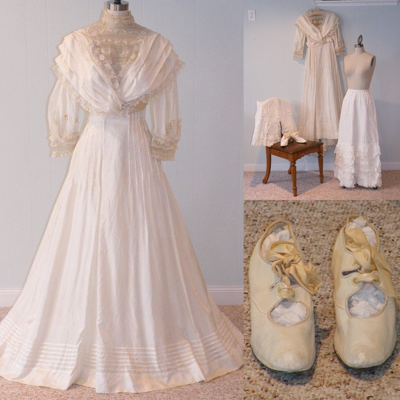 HOLD Antique 1900s Wedding Dress Trousseau 6 Piece Ensemble, Silk Dress Petticoats Bloomers Shoes Shirt, Intricate Floral Lace, Wedding Set
