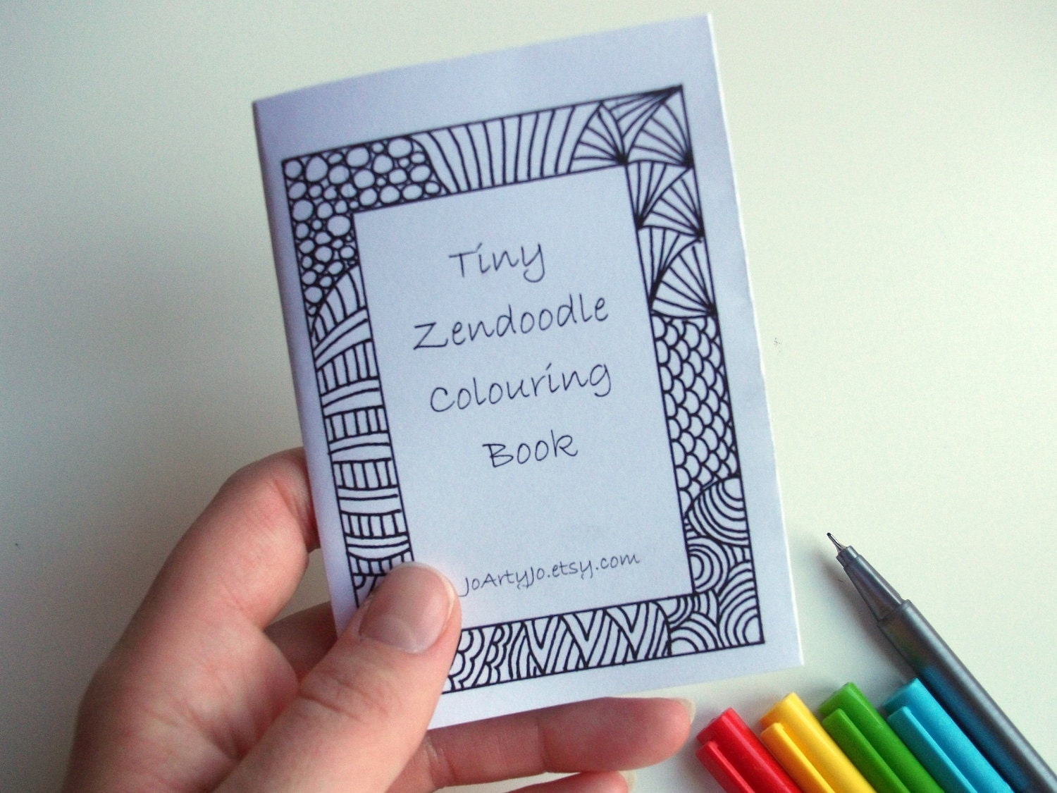 Mini Zine, PRINTABLE Zentangle Inspired Coloring Book, Intricate Zendoodle Coloring Patterns - JoArtyJo