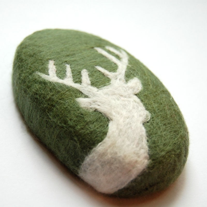 Felted Soap with White Deer ( Men Soap)