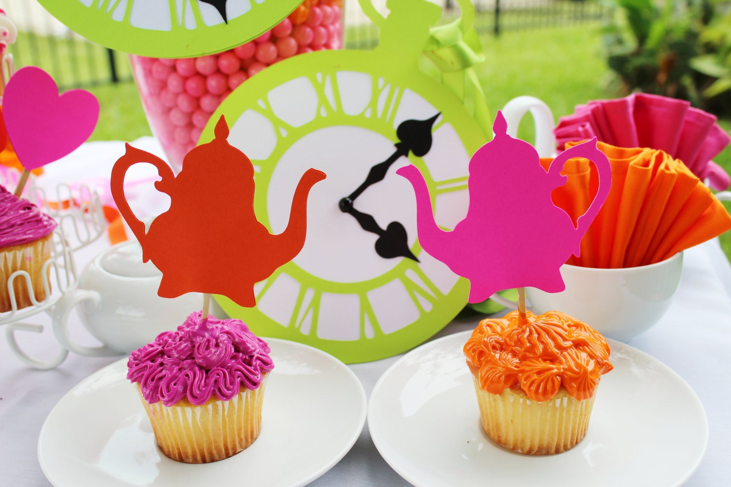 Alice In Wonderland Party Supplies - Cupcake Toppers- 12 Pink Orange Antique Teapots Toppers - Tea Party