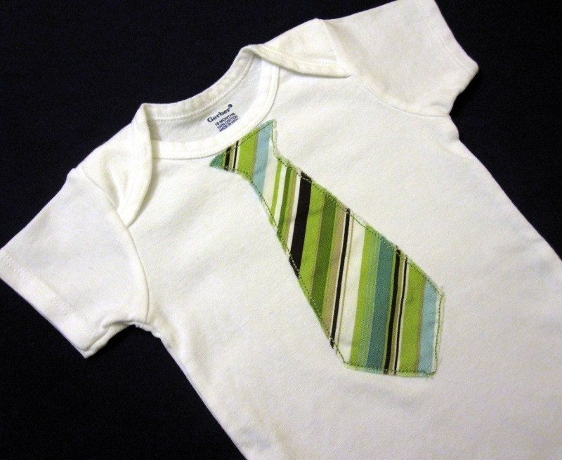 Green Striped Tie Onesie