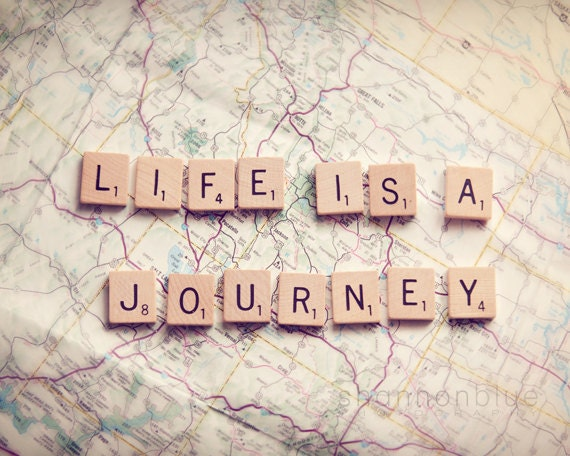 life travel photograph / journey, map, wanderlust, adventure, scrabble tiles, letters, print / life is a journey / 8x 10 fine art photo
