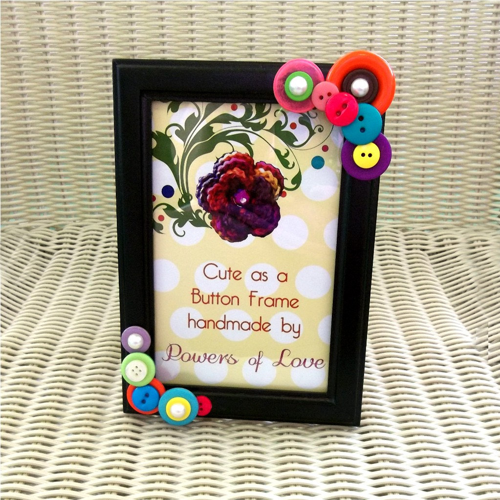 Button Embellished Photo Frame - 4x6 , Pearls, Horizontal or Vertical, Pink, Orange, Teal, Green