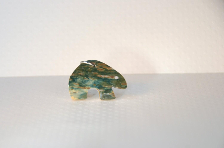 Blue Green Bear Mastodon Ivory Totem - ThePolkadotMagpie