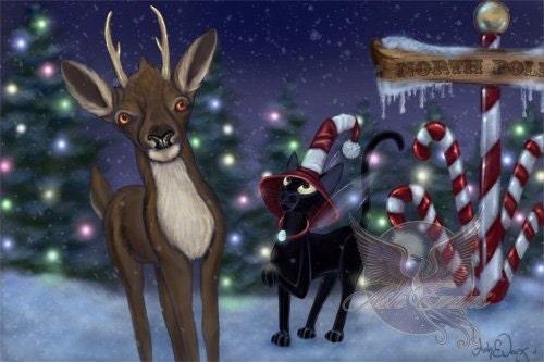 Winter Christmas Holiday fantasy black cat art print