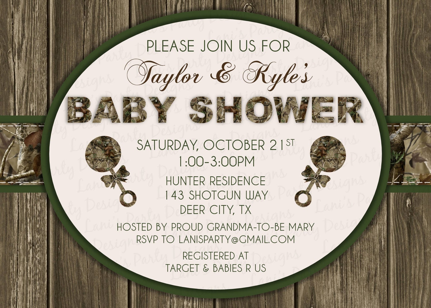 Pink Camo Baby Shower Invitations is great invitations sample