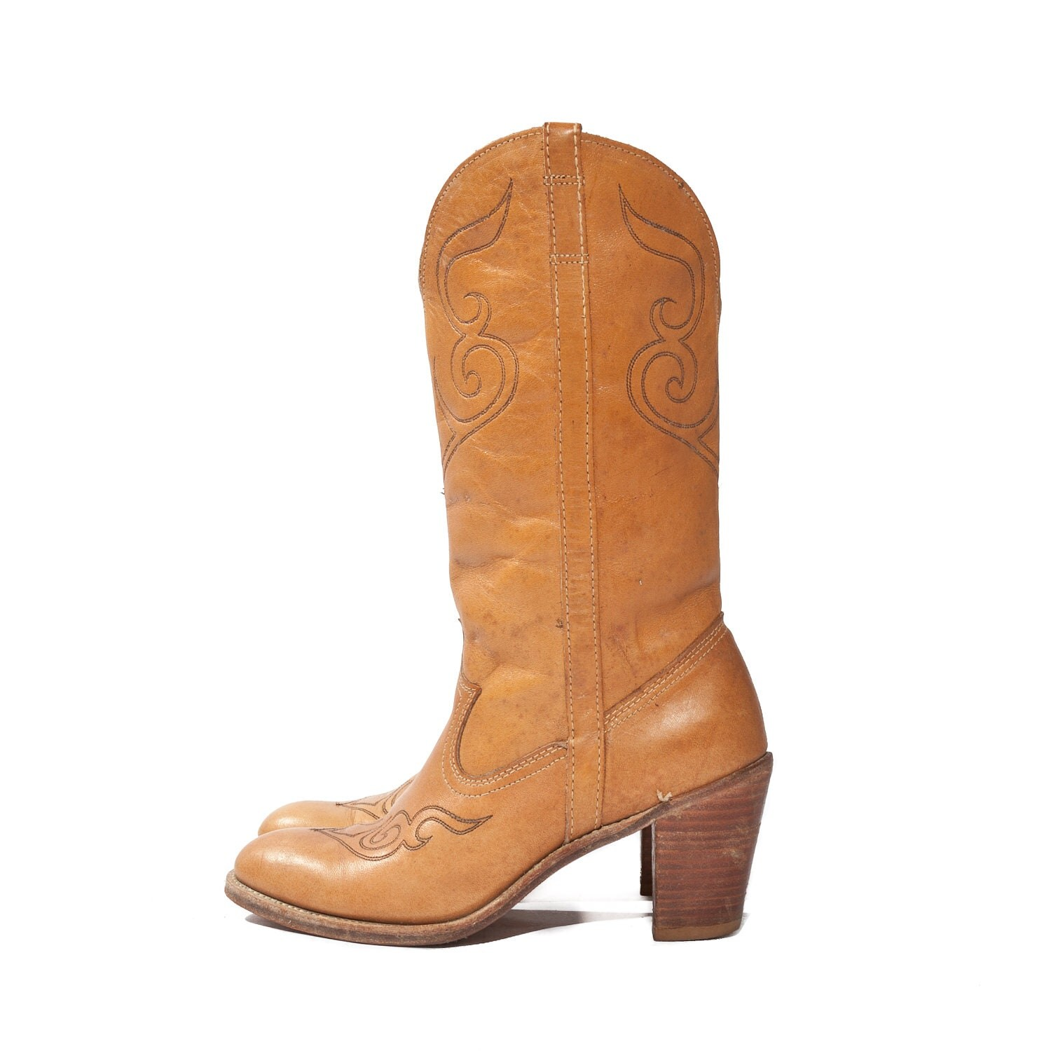 Butterscotch Western Boots Stacked Heel Cowgirl by Acme Dingo size  7