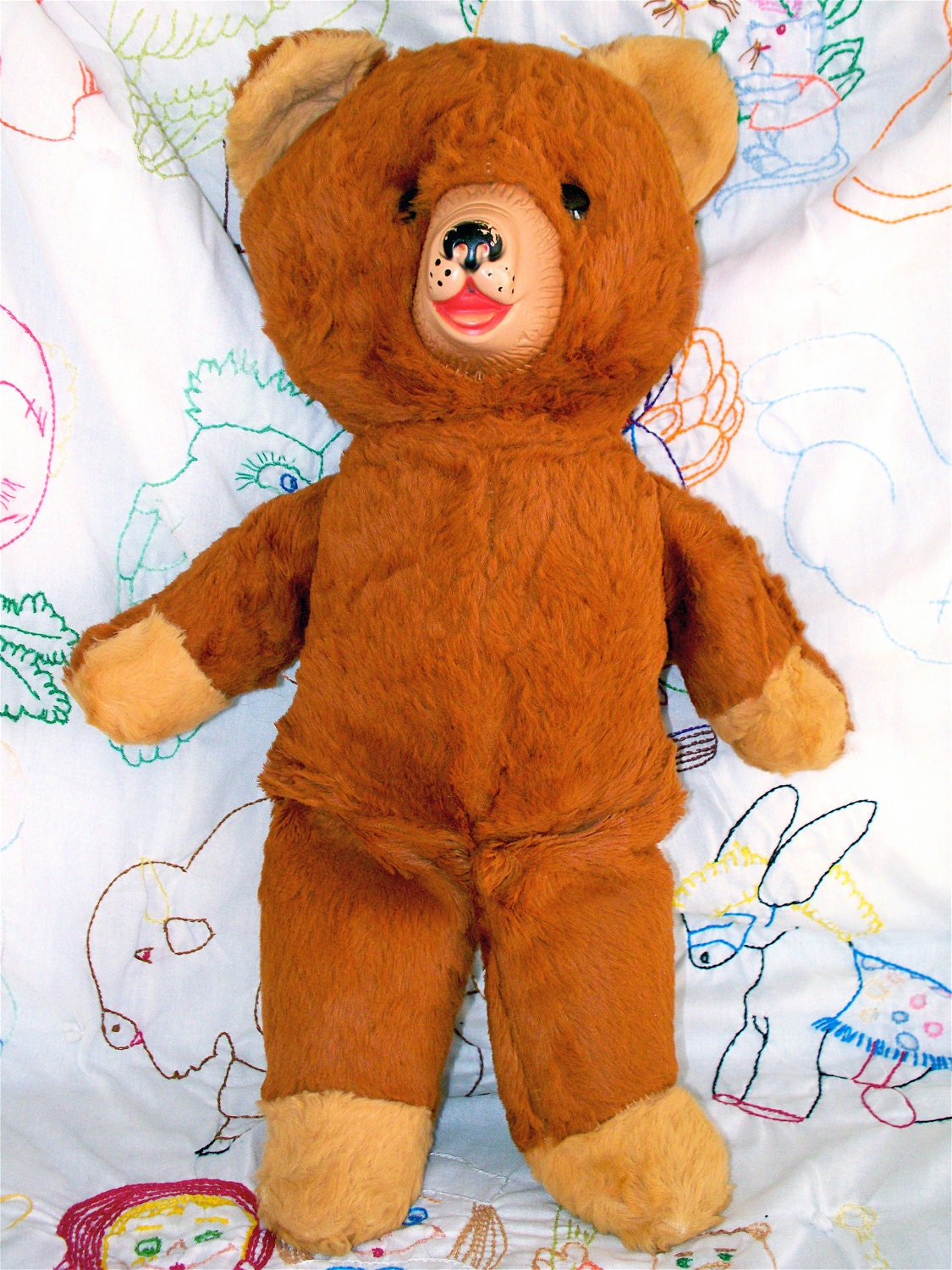 Vintage  Kitsch Rubber Face Brown Teddy Bear