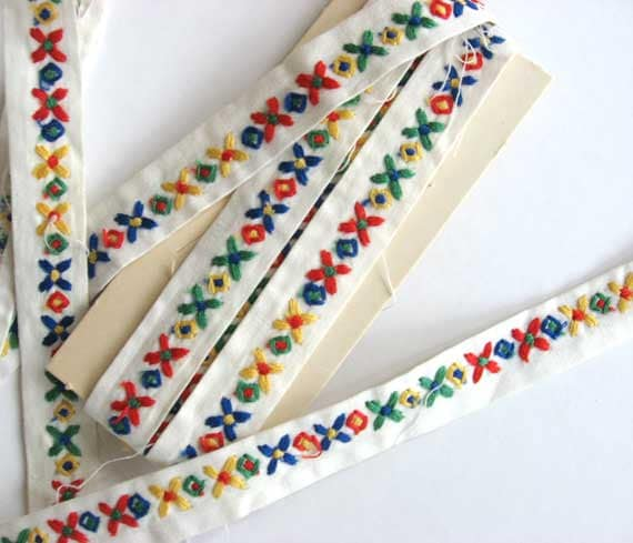 2 Plus Yard of Vintage Flower Embroidered Cotton  Ribbon Trim, Primary Colors on White - kelleystreetsupply