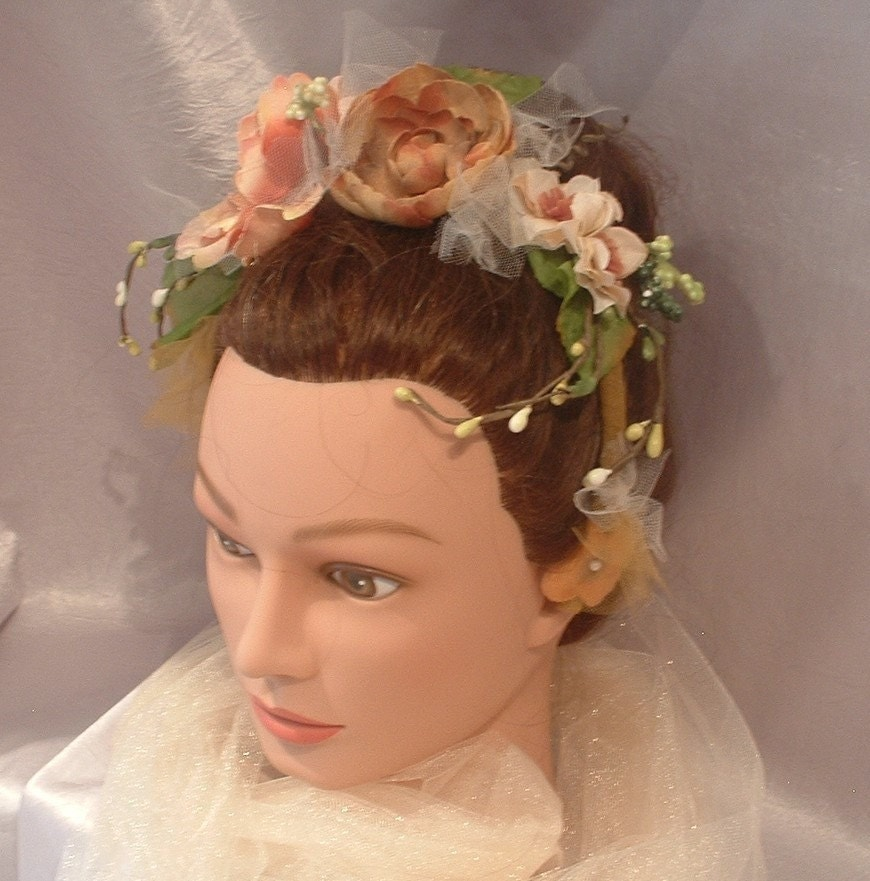 Autumn Bliss Bride, Flower girl, Headband hairpiece, Nature bride, bridesmaid - wedding - bridal - Belle Fleur Bridal