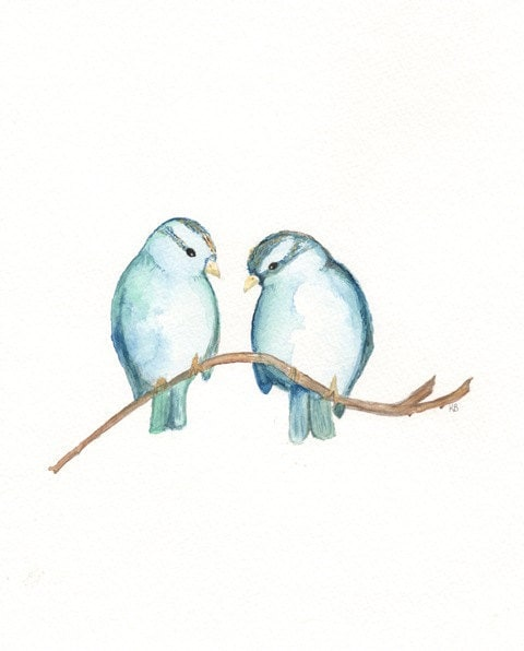 Blue Sparrows and Nest/ Nest with 3 blue eggs / Watercolor Prints / 2 for 35.00 / Mother's Day Gift Sale - kellybermudez
