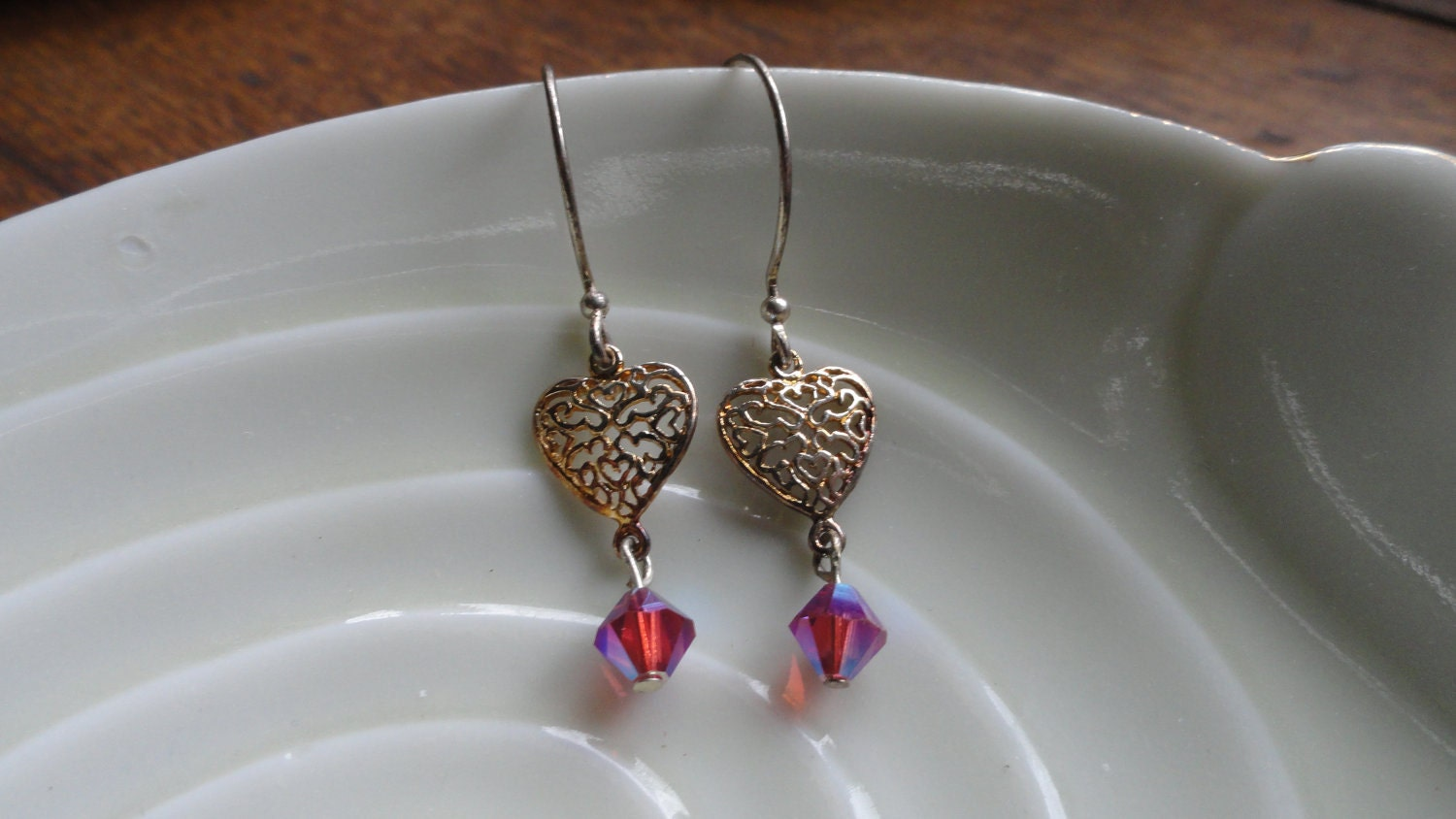 Filigree Hearts with Dangling Pink Iridescent Crystals - ($14)