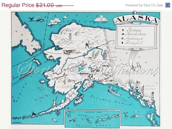 20% OFF ALL MAPS Alaska - Vintage Map of Alaska - A Fun and Funky Little Picture Map of Alaska to Frame