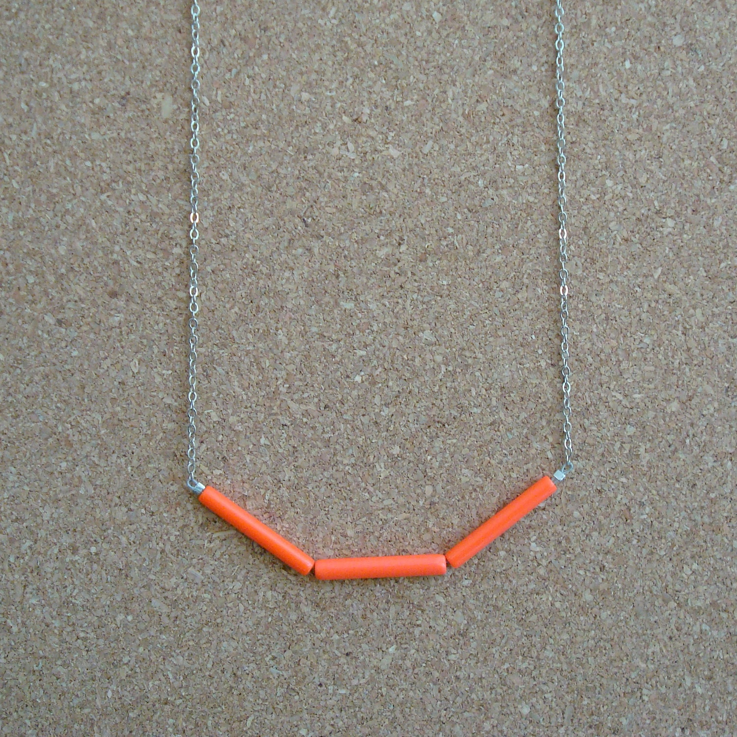 "Silver Plated Chain Necklace w/ Vintage Neon Orange-Red Acrylic Tube Beads (25"")"