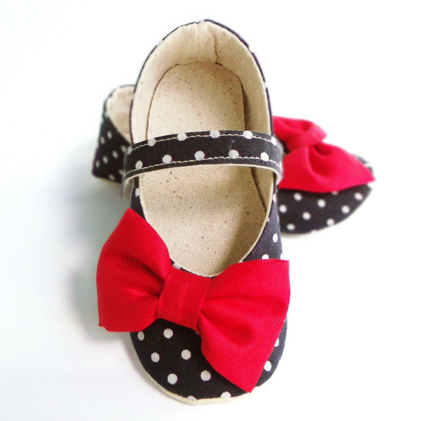 Baby Shoes, Baby Christmas Outfit, Baby Girl, Navy Blue, White, Polka Dots, Christmas Gift, Red Bow, Booties, Little Serah - littleserah