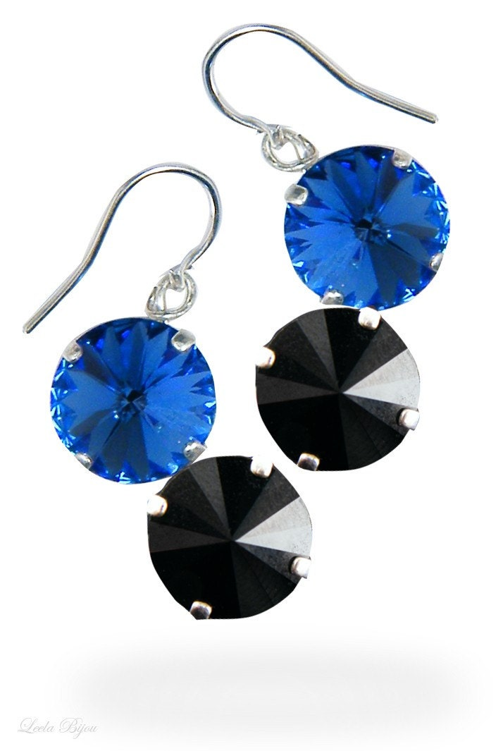 Earrings Black Electric Blue Swarovski Crystal Sterling Silver