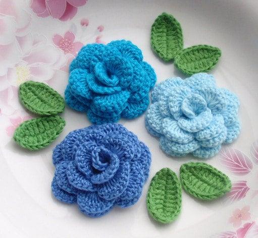 3 Crochet Flowers (Roses) With Leaves YH - 142-03 - YHcrochet
