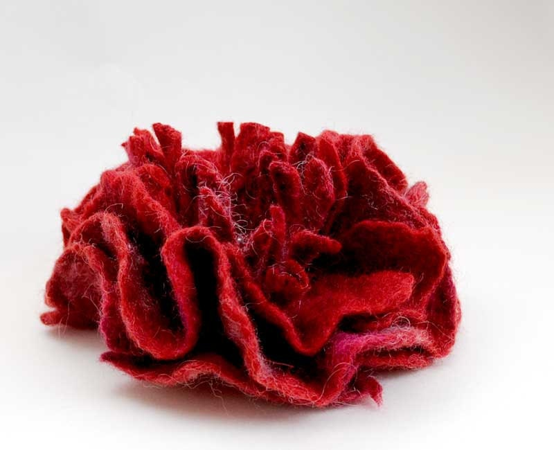 Felted brooch big bordeaux flower from Merino Wool