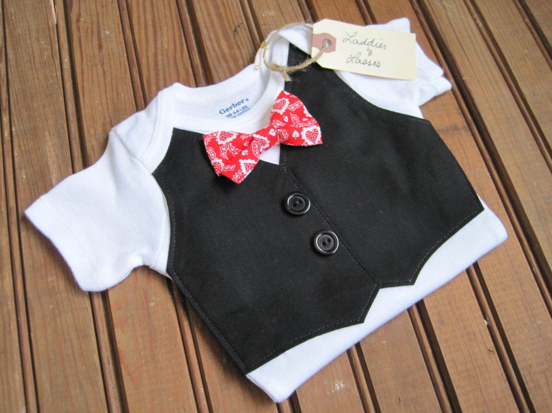 Valentine's Day Vest Onesie with Plaid Bow Tie, Vest Onesie, Bow Tie Onesie, Bowtie Onesie, Baby Boy Gift, Baby Vest, Baby Boy Bowtie