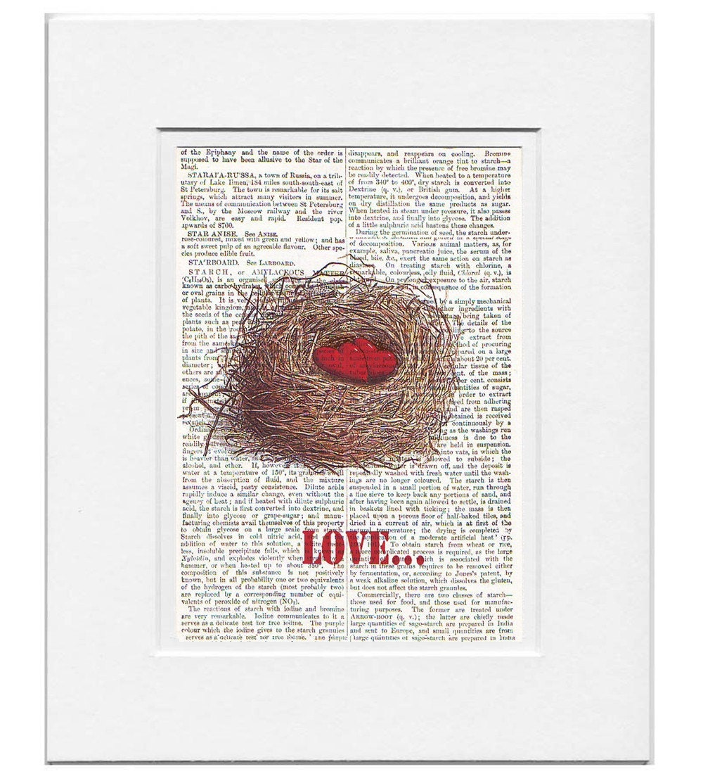 LOVE Nest - ORIGINAL ARTWORK  printed on Repurposed Vintage Dictionary page- Free Domestic Shipping