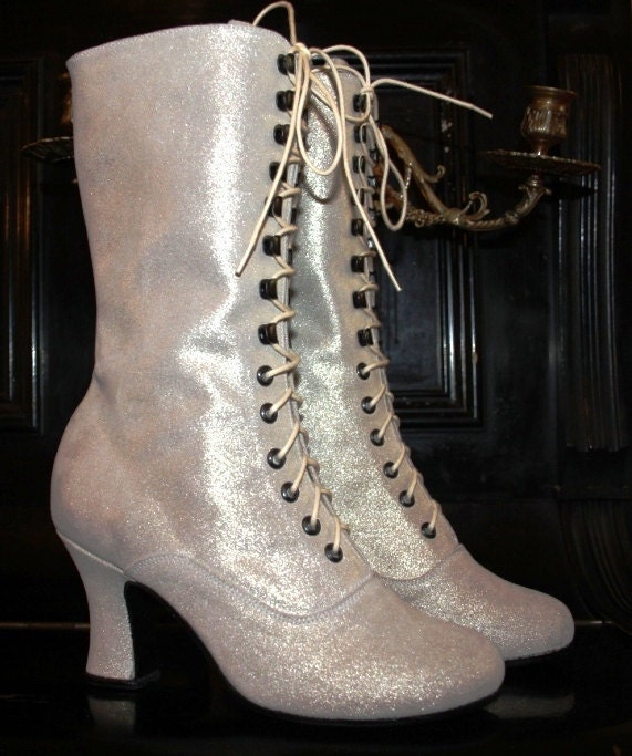 Wedding Glitter White Boots Unicat Victorian Boots style lace up ORDER