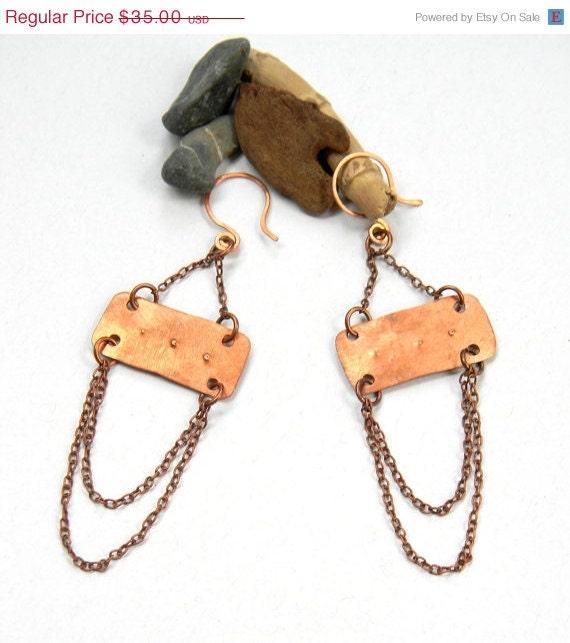 SALE Layered Copper Chain Earrings (E785)