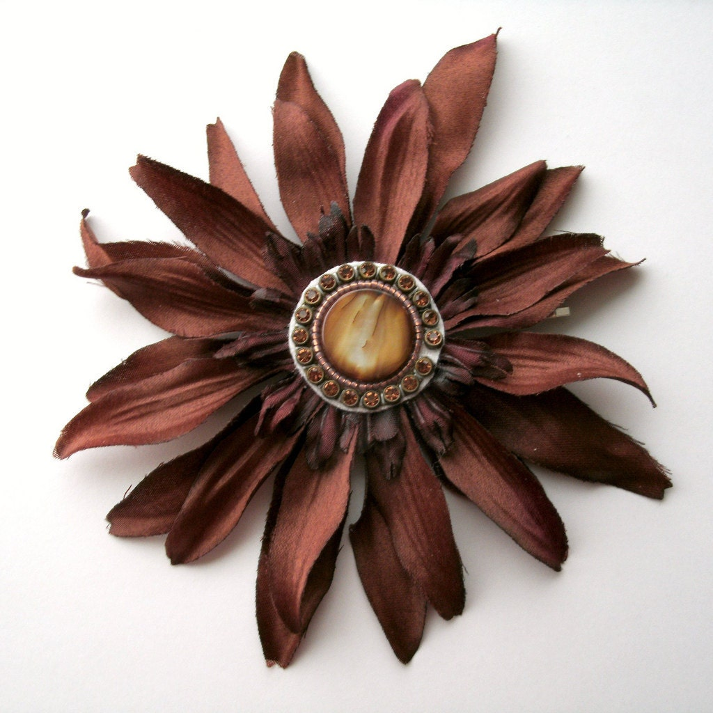 Brown Flower Bobby Pin - ndnchick