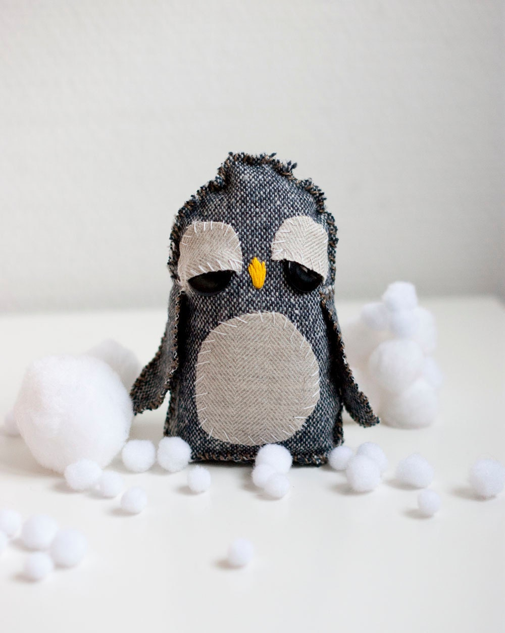 Hand sewn soft sculpture - Peggy the penguin