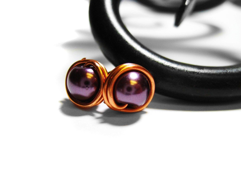 Purple Copper Wire Wrapped Stud Earrings. Amethyst Pearl Post Earrings