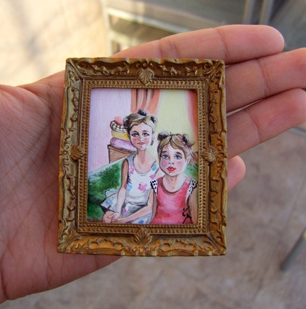 "Tiny Original Acrylic Painting ""Two sisters"" for Dollhouse or Collection by VaKaDi"