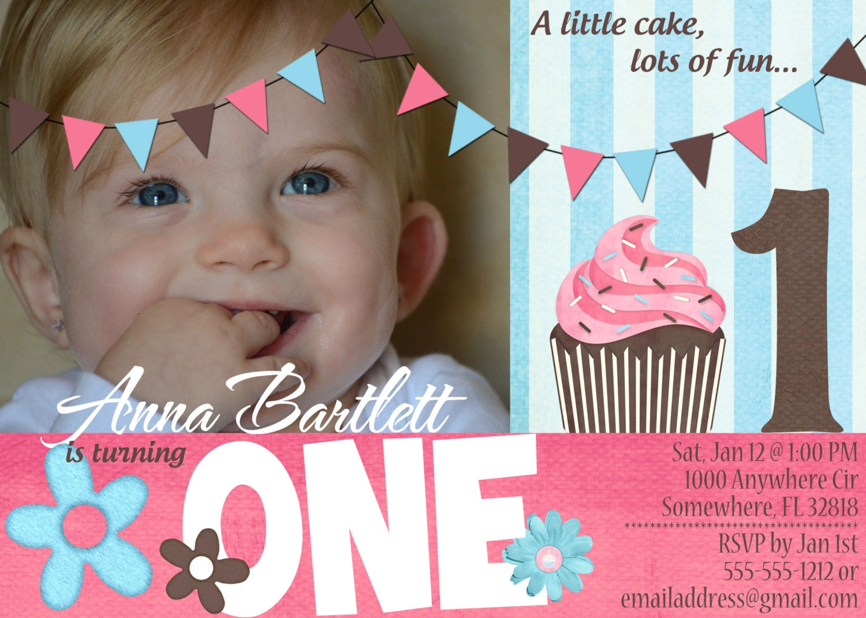 Custom Digital Cupcake First Birthday Invitation, Cupcake Birthday Party, 5x7 PRINTED INVITE- BI1: Cupcake-1