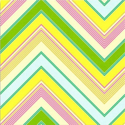 Heather Bailey Pop Garden Zig Zag Stripe in Yellow/Pink/Green - HB05 -1 yard, BTY