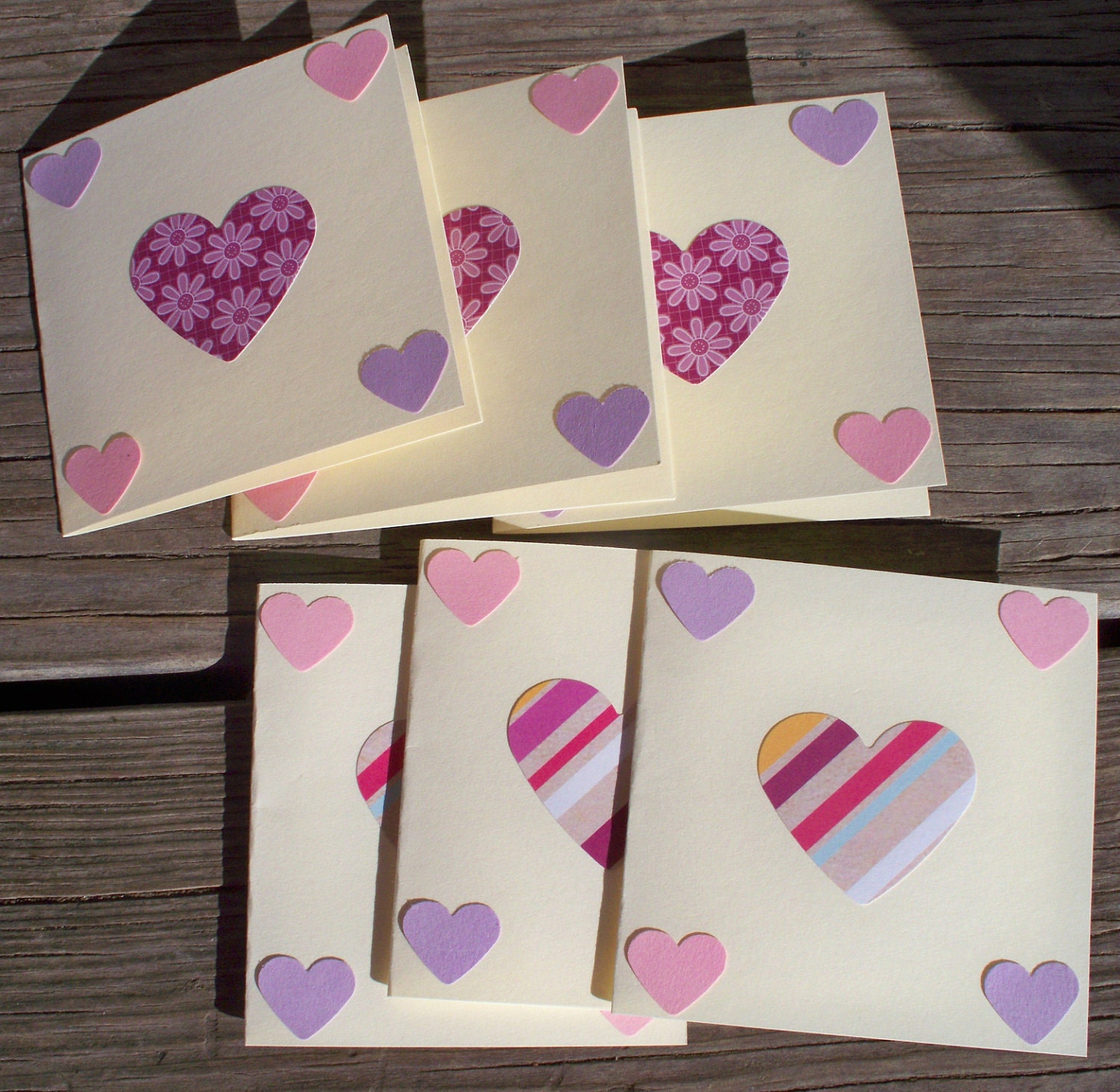 Hearts mini cards set of 6