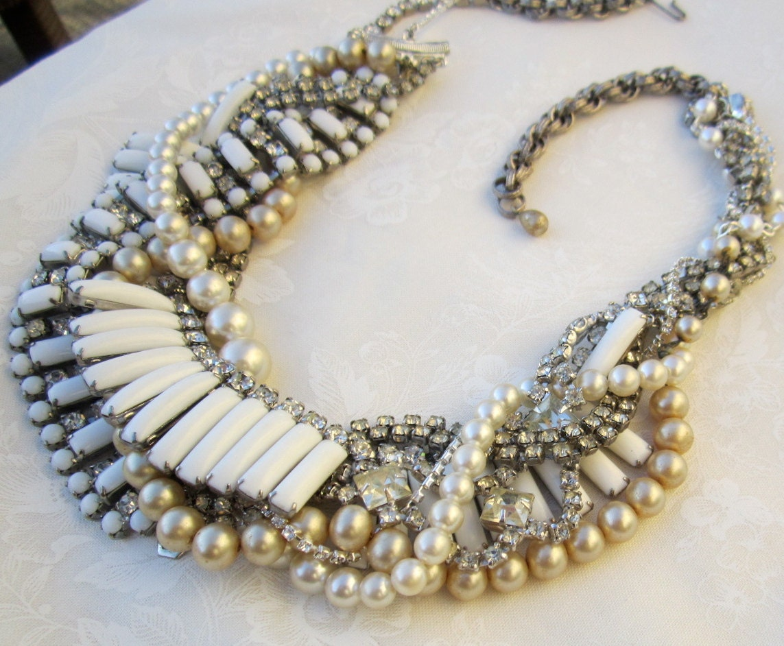White Bridal Statement Necklace Wedding Jewelry Rhinestone Pearl Chunky Vintage Wedding - On the Rocks With A Twist (Tom Binns Inspired)