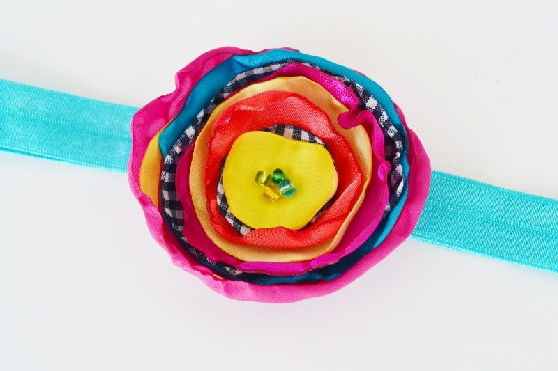 Boutique Children Headband Bright Multi Color Fabric Flower Hair Clip with Thin Turquoise  Headband By Ana's Baby Couture